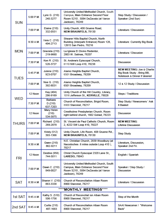 update meeting list